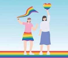 comunidad lgbtq, mujeres jóvenes sosteniendo el corazón del arco iris y la celebración de la bandera, desfile gay protesta por discriminación sexual vector