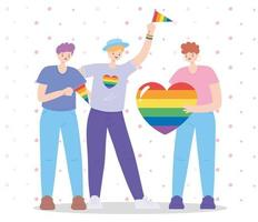 comunidad lgbtq, personas homosexuales con bandera y corazón arcoíris, desfile gay protesta de discriminación sexual vector