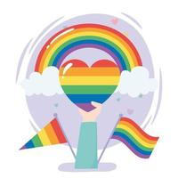 LGBTQ community, hand with rainbow heart flags gay parade sexual discrimination protest vector