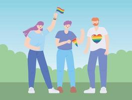 comunidad lgbtq, grupo feliz de personas con banderas del arco iris, desfile gay protesta de discriminación sexual vector