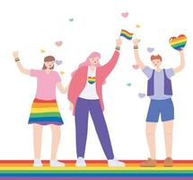 LGBTQ community, celebrating group women with rainbow heart and flag, gay parade sexual discrimination protest vector