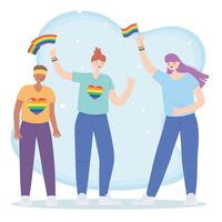 LGBTQ community, lesbians group with rainbow flags, gay parade sexual discrimination protest vector