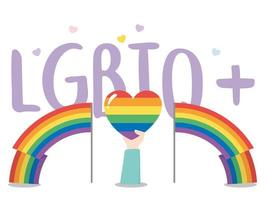 LGBTQ community, hand holds rainbow heart, gay parade sexual discrimination protest vector