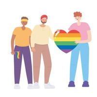 LGBTQ community, people holding a huge rainbow heart, gay parade sexual discrimination protest vector