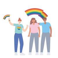 personas sosteniendo la bandera lgbtq del arco iris en las manos, desfile gay protesta de discriminación sexual vector