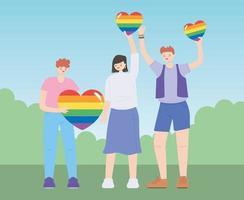 LGBTQ community, diverse group with rainbow hearts, gay parade sexual discrimination protest vector