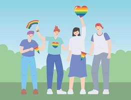 LGBTQ community, diverse group people with rainbow flags and heart, gay parade sexual discrimination protest vector