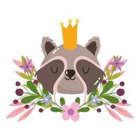 Linda cabeza de mapache con corona animal flores follaje naturaleza decoración dibujos animados vector