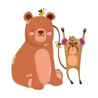 cute animals bear with bees and monkey nature wild cartoon vector