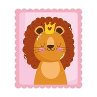 cute little lion with crown animals cartoon postage mail stamp vector
