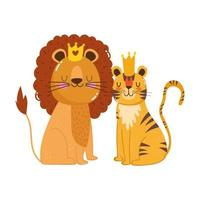 cute animals lion with crown and tiger nature wild cartoon vector