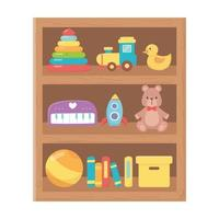 kids toys wooden shelf vector