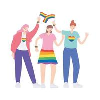 comunidad lgbtq, mujeres jóvenes con bandera arcoíris, desfile gay protesta por discriminación sexual vector