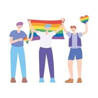 LGBTQ community, young men character with rainbow flags and heart, gay parade sexual discrimination protest vector