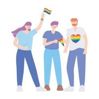 LGBTQ community, happy group people with rainbow flags, gay parade sexual discrimination protest vector