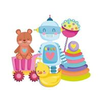 toys object for small kids to play cartoon teddy bear robot duck rattle truck and pyramid vector