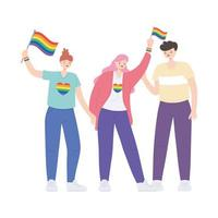 LGBTQ community, activists participating in lgbtq pride with rainbow flags vector