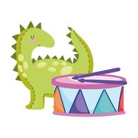 toys object for small kids to play cartoon little dinosaur and drum vector