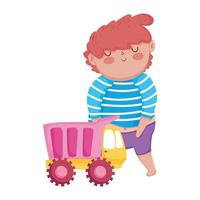 toys object for small kids to play cartoon, cute boy with truck