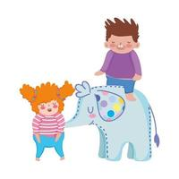toys object for small kids to play cartoon, little girl and boy with elephant vector