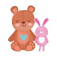 toys object for small kids to play cartoon, cute teddy bear and pink bunny