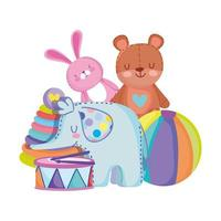 toys object for small kids to play cartoon rabbit bear elephant ball drum