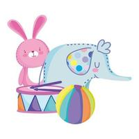 toys object for small kids to play cartoon elephant rabbit ball and drum