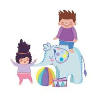 toys object for small kids to play cartoon, girl and boy playing with elephant drum and ball vector