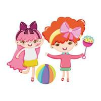 toys object for small kids to play cartoon, cute little girls with rattle and ball vector
