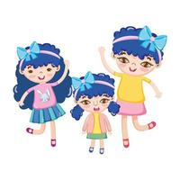 happy cute little girls with ribbon on head celebrating cartoon vector