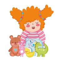 toys object for small kids to play cartoon, little girl with cute bear bunny dinosaur elephant and duck vector