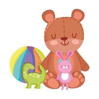 toys object for small kids to play cartoon, cute teddy bear dinosaur rabbit and ball