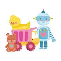 toys object for small kids to play cartoon, robot duck truck teddy bear