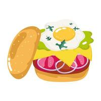 fast food burger with egg cheese tomatoes isolated icon white background vector