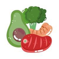 food vegetable menu fresh diet ingredient slice avocado sausage broccoli and meat vector