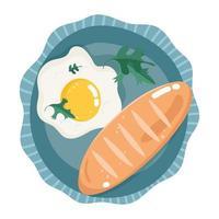 food dinner menu fresh breakfast fried egg bread on dish vector