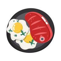 food dinner menu fresh cartoon beef steak and fried eggs in dish vector