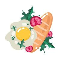 food dinner menu fresh fried egg tomatoes and bread vector
