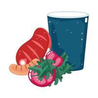comida cena menú carne fresca salchicha tomates y refrescos