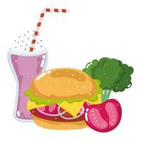 fast food menu restaurant unhealthy burger milkshake tomato and broccoli vector