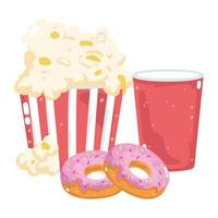 fast food menu restaurant unhealthy takeaway soda cup popcorn and donuts vector