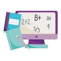 regreso a la escuela, libro de lecciones de matemáticas en computadora y lápiz, dibujos animados de educación primaria vector
