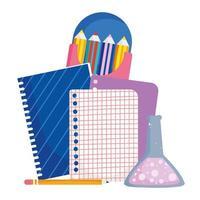 regreso a la escuela, tubo de ensayo de papel de cuaderno y lápices de colores dibujos animados de educación primaria vector
