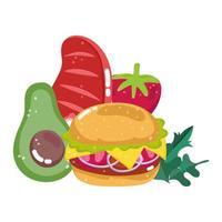 fast food menu restaurant unhealthy burger avocado meat and tomato vector