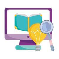 back to school, computer ebook magnifier idea elementary education cartoon vector