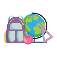 back to school, backpack apple map and ruler elementary education cartoon vector
