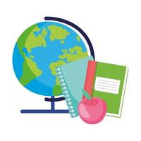 back to school, globe map book notebook and apple elementary education cartoon vector