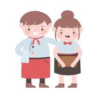 waiter and waitress with apron and menu cartoon character vector