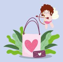 love gift bag and envelope romantic hearts cartoon design vector