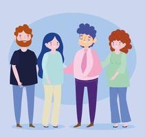 parejas familiares mujer embarazada padres juntos personaje de dibujos animados vector